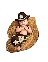 Baby Infant Lovely Cowboy Baby Photography Prop Cowboy Crochet Knitted Hat Overall Costume 2-3months