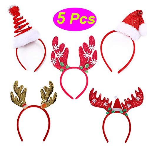5 Pieces Christmas Party Supplies Photo Booth Pros Christmas Headbands Hat Holiday Costume Accessories (Xmas Headbands-5pcs) ()