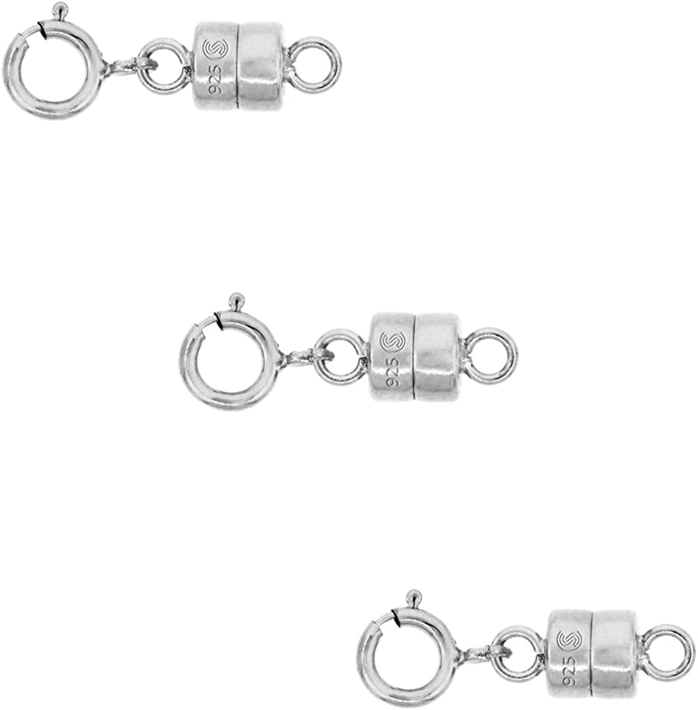 Sterling Silver 4 mm Magnetic Clasp Converter for Light Necklaces USA, Square Edge