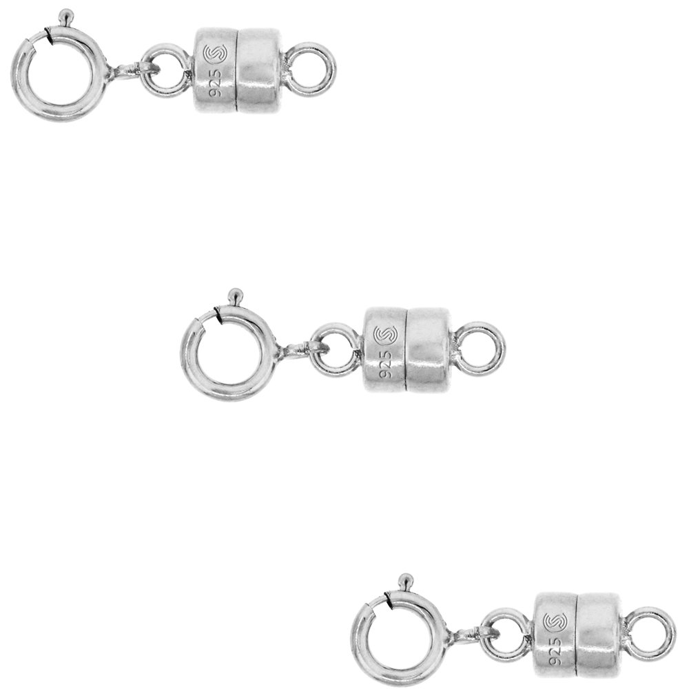 3 Pack Sterling Silver 4 mm Magnetic Clasp Converter for Light Necklaces USA, Square Edge by Sabrina Silver