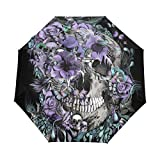 LORVIES Skull And Birds Automatic 3 Folding Parasol Sun Protection Anti-UV Waterproof Umbrella for Women