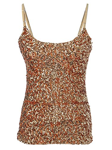 Anna-Kaci Womens Shimmer Sparkly Sequins Spaghetti Strap Camisole Vest Tank (Design Camisole)