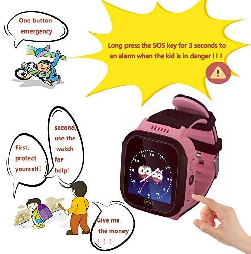 Kids Smartwatch for Boys and Girls Children GPS Touch Phone Wrist Watch with 1.44 Touch Screen and Anti-Lost SOS Call GPS LBS Locator Smartwatch for Kids Gift, Compatible with iOS Android Pink