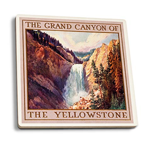 Grand Canyon Yellowstone Park - Lantern Press Yellowstone National Park, Wyoming - The Grand Canyon of Yellowstone (Set of 4 Ceramic Coasters - Cork-Backed, Absorbent)