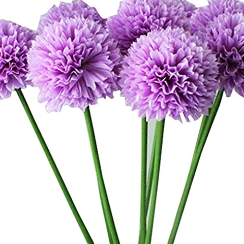 Outtop 5 Pcs 19.7 Inch hydrangea Ball Artificial Flowers Bouquets Real Touch Fake Flower for Home and Wedding Decoration (Purple)