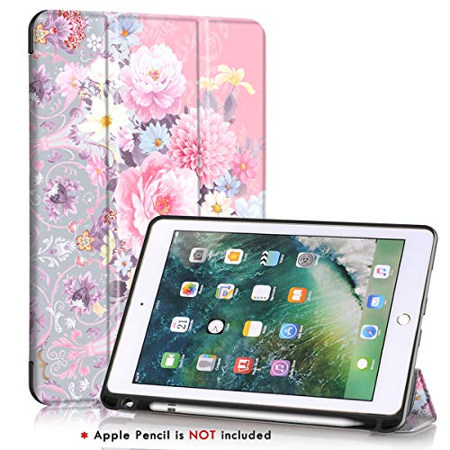 iPad 5th /6th Generation case with Pencil Holder,iPad Air 2/iPad Air Case,PIXIU Unique Protective Leather Folding Stand Folio Cover with Auto Wake/Sleep for New iPad 9.7 Inch 2018/2017 Flower