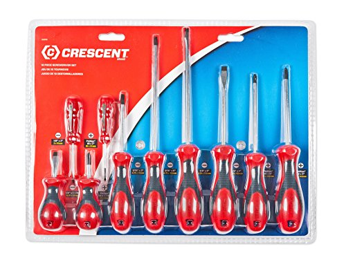Crescent CSD10 Cushion Grip Screwdriver Set, Red/Black, (Red Cushion Grip)