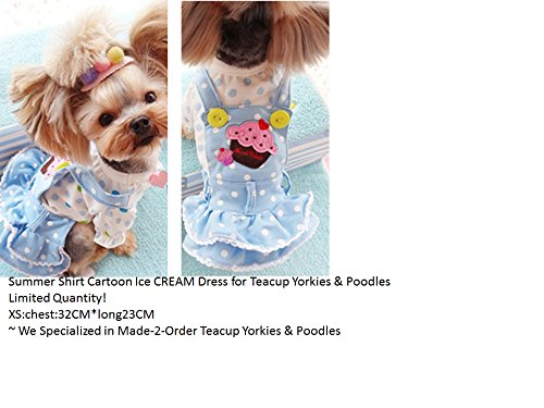 REIENE Exclusive! Handmade Special for Teacup Yorkshire Terrier Teacup Poodles Summer Outfit Cartoon Ice CREAM Shirt + Dress for Dogs/cats CUTE CUTE C…