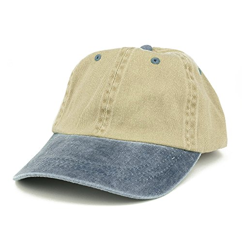 Armycrew Low Profile Blank Two-Tone Washed Pigment Dyed Cotton Dad Cap - Khaki Navy (Two Hat Baseball Tone)