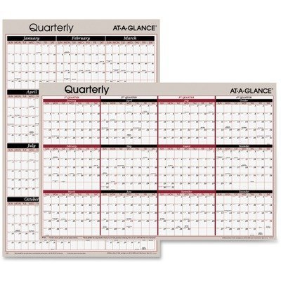 Erasable Wall Calendar,Qrtly,2-Sided,Vert/Horz,36x24,Gray by Visual Organizer
