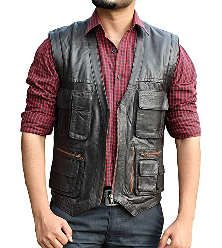 fjackets Jurrasic World Leather Vest - Chriss Pratt Brown Vest for Men (Brown, L)