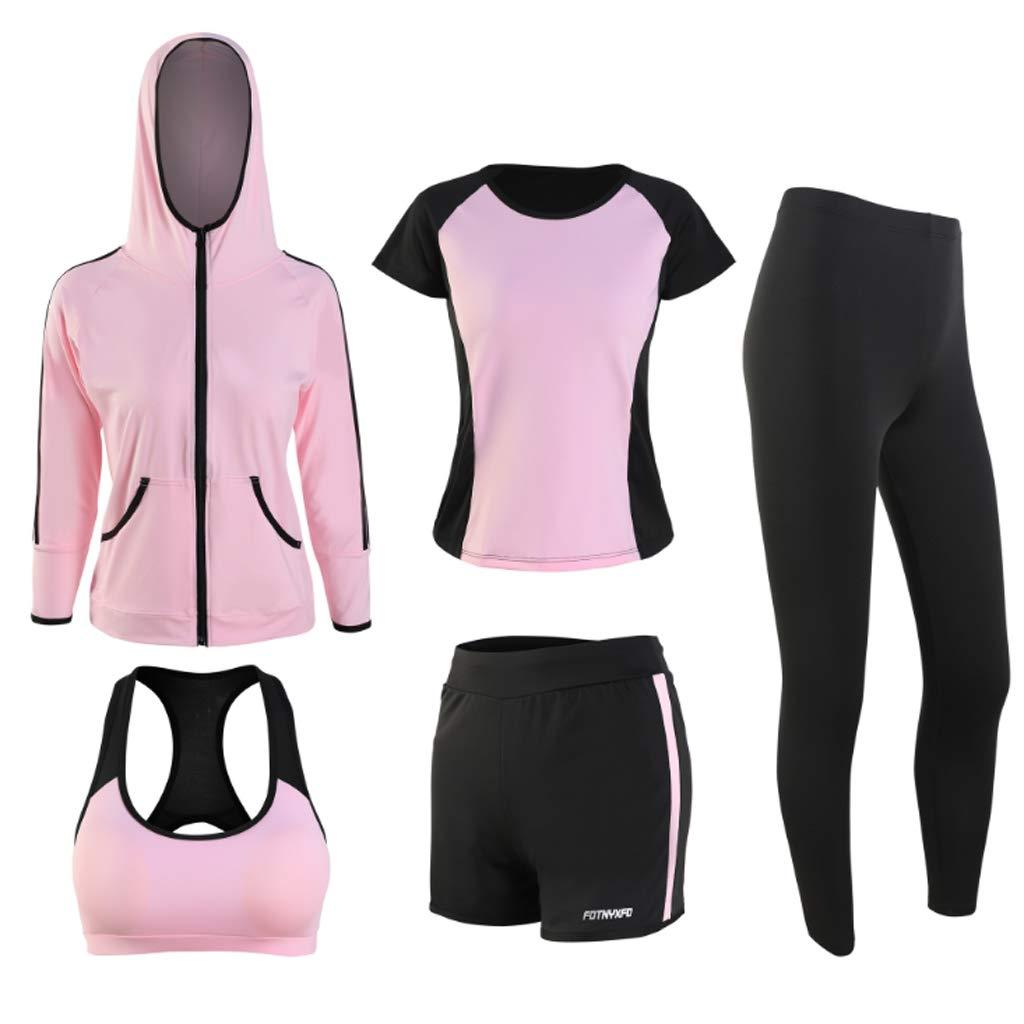 2 Yoga Fitness Set Women's Long Sleeve Hooded QuickDrying FivePiece Fitness Running Sportswear Yoga Wear