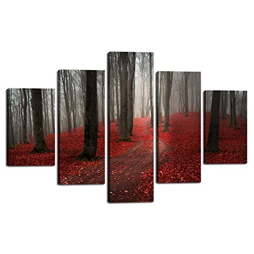 (Autumn Fall Scene Wall Art Picture for Living Room Red Foliage Forest Canvas Painting Modern Beautiful Nature Landscape Poster Print Artwork Home Decor Framed Stretched Ready to Hang (60''Wx40''H))