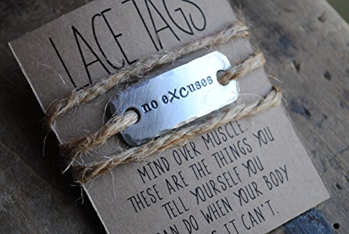 {ONE} no eXCuses shoe lace tag . cross country team motivation . team sports jewelry . lace tags for runners