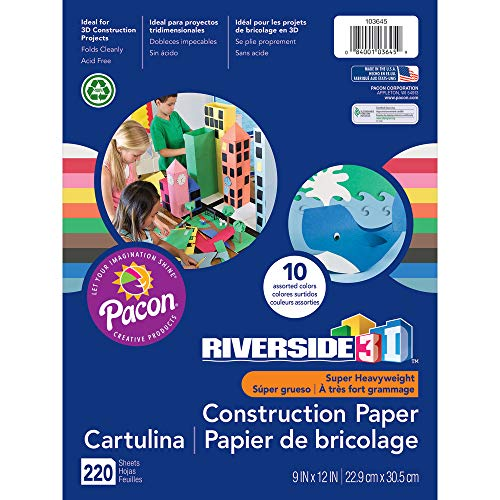 Paper Construction Recycled - Riverside 3D Construction Paper, 10 Assorted Colors, 9