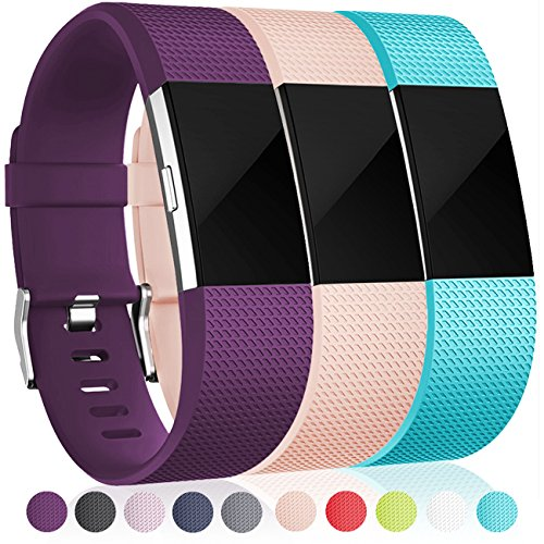 Maledan Replacement Bands for Fitbit Charge 2, Plum Teal Blush Pink, Large