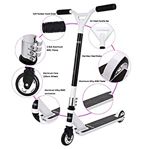 Pro Stunt Scooter For teenager's,Lululy NEW Kick Scooter For teenager's 2 Wheel Scooter 360-degree Lean To Steer Ride On PU ABEC-9 Bearing Wheels for Person over 7 Year Old