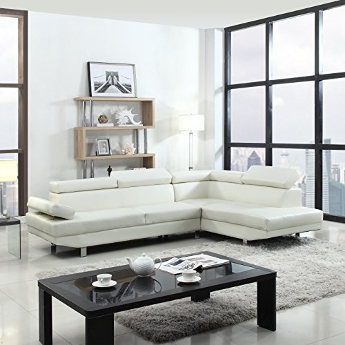 Casa Andrea Milano 2 Piece Modern Contemporary Faux Leather Sectional Sofa – Black, White with Functional Armrest and Back Support