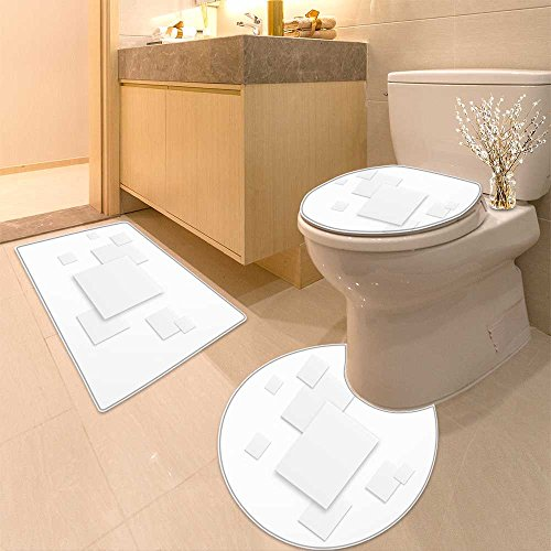 (3 Piece Extended bath mat set Abstract gray background with white paper squares Non Slip Bathroom Rugs)