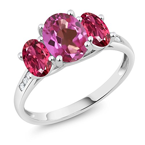 10K White Gold Diamond Accent Oval Pink Mystic Topaz Pink Tourmaline 3-Stone Ring 2.06 Ct, Available in size (5,6,7,8,9)