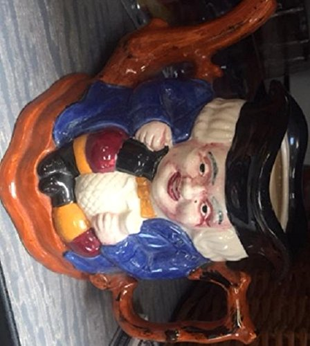 Toby Mug Toby Jug, 6Inch Tall Staffordshire Jug With Cane Handle, Hand Painted Shorter and Son Ltd. Pitcher, English Gentleman Character Jug, Wearing Large Black English Hat, Royal Blue Robe , Holding a Beverage Pot Large Cane Handled Staffordshire Jug, Marked Shorter, Made in England Made in England RARE PIECE (Staffordshire Toby)