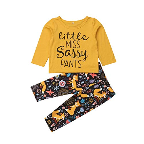 Newborn Infant Baby Floral Clothes,Autumn Girl Boy Long Sleeve Tops+Long Pants 2Pcs Outfits Set,0-4 Years (Yellow Fox, 1-2T)