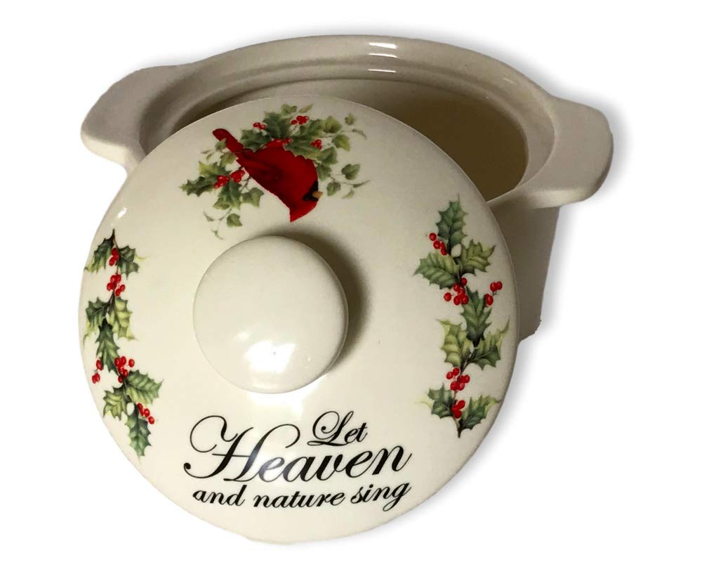 Decorative Dip Bowl - Cardinal and Berry Design with Lid - Ceramic Bowl with Holiday Design