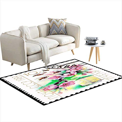 Extra Large Area Rug CanceleSoviet Postage Stamp Cherry Blossom Bee Hive Cultivation Pollination 3'x9'