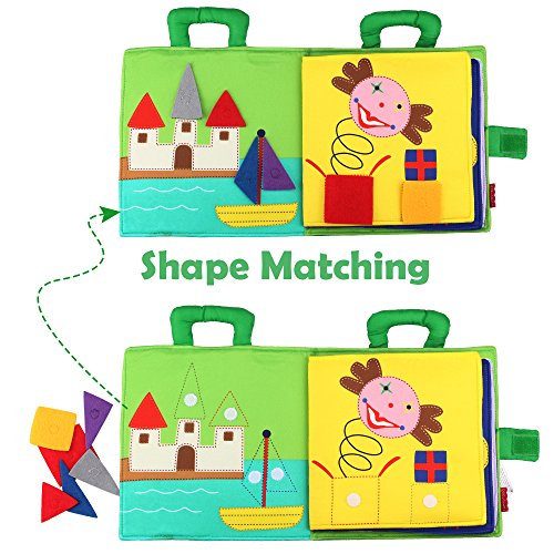 YOUDirect Children Early Education Soft Colth Book, Tangram Jigsaw Puzzle Cloth Toddler Books, Handmade Washable Fabric Activity Shape Matching Hook & Loop Cloth Books for Babies Toddler Kids by YOUDirect (Image #1)