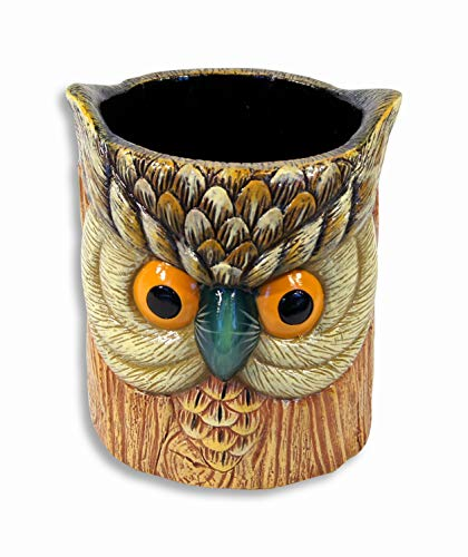 - SC Hand Painted Poly Resin Gray Owl Pen Pencil Holder Container Grey Color 5