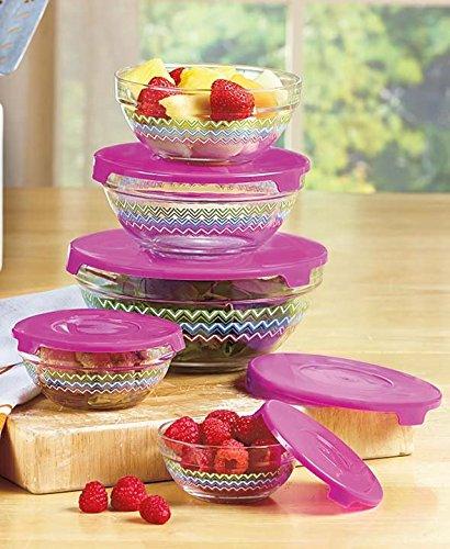 Chevron Multicolor 10 Pc Glass Bow Food Storage Container Set