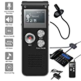 NeeGo Digital Voice Activated Recorder 8GB USB Portable MP3 Player With Mic 3.5mm Microphone - Plus Telephone Pickup Landline Recording Device Recorder