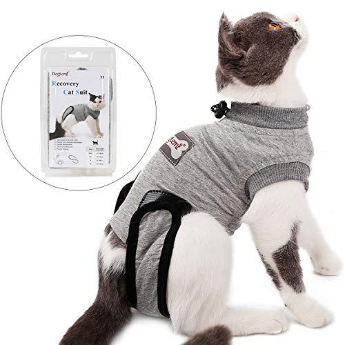 Tineer Pet Recovery Suit for Ablactation Bauchwunden Hautkrankheiten Chirurgie, Katze Sterilisation Pflege Baumwolle Atmungsaktiv Verhindern Lecken Tragen Entwöhnen