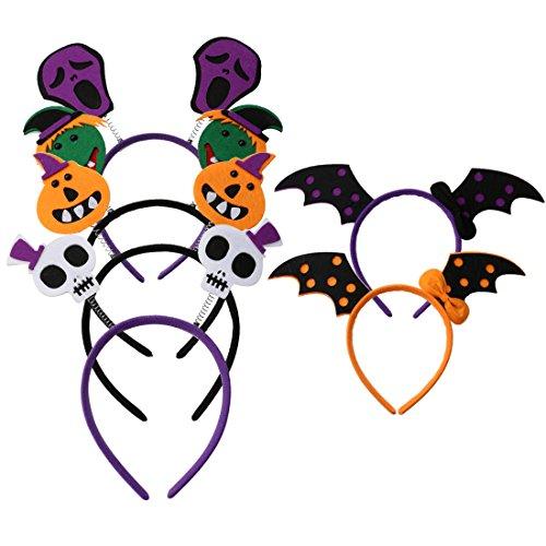 A-SZCXTOP Halloween Headband Skull Bat Pumpkin Hair Hoop Headpiece Halloween Masquerade Party 6PCS a (Halloween Makeup Puppet)