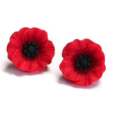 cd7ef57fb Amazon.com: Red Poppy Flower Resin Post Stud Earrings Hypoallergenic ...
