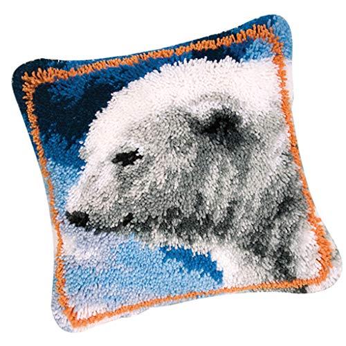 Pillow Bear Hook Latch (Prettyia Latch Hook Kit Cushion Cover Pillow Case DIY Needlework Crocheting Embroidery Kit 17 by 17 Inch - Polar Bear)