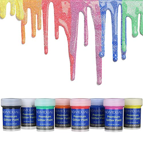 individuall Premium Glitter Paint - Made in Germany - The Original - Extreme high Pigmentation - for All Surfaces Paper, Canvas, Wood, Metal, Plastic, Fabric, Glass, and Ceramics, Set of 8 Paints