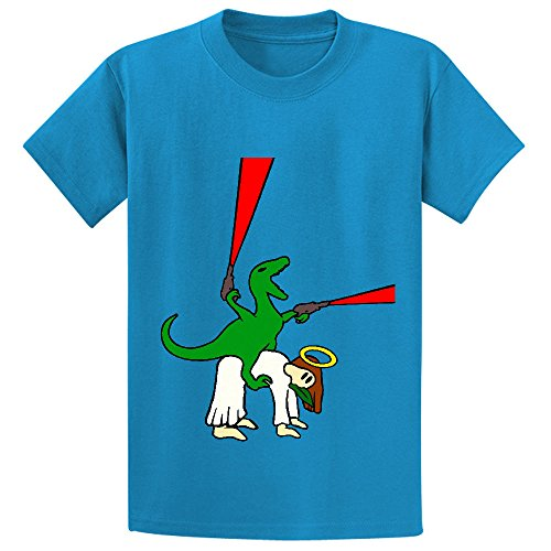 Chas Dinosaur Riding Jesus Boys' Crew Neck Graphic T Shirt Blue