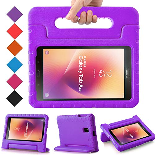 BMOUO Kids Case for Samsung Galaxy Tab A 8.0 2017 (SM-T385 /T380) - EVA Shockproof Light Weight Handle Stand Kids Case Cover for Samsung Galaxy Tab A 8-inch 2017 Release - Purple ()