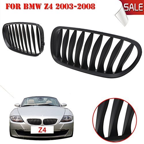 Jade Onlines 1 Pair Matte Black Front Kidney Grille Grill For BMW E85/E86 Z4 2003-2008 Convertible & - Fiberglass Grill Front