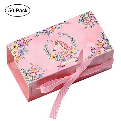 Hokic 50pcs Unicorn Gift Box Large Unicorn Party Favor Boxes Bags for Kids Birthday Unicorn Theme Party Baby Shower Decorations and Supplies