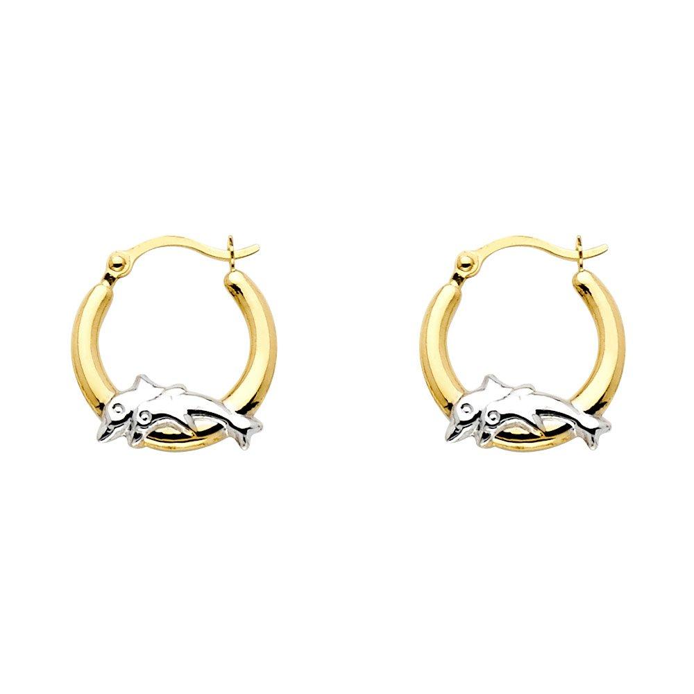 13mm Diameter 14k Two Tone Gold Fancy Dolphin Hoop Earrings