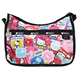 LeSportsac Hello Kitty Collector Exclusive Classic Hobo Crossbody Bag + Cosmetic Bag, Style 7520/Color G631, Hello Kitty Embroidered Lettering on Strap & Hello Kitty Design Zipper Pull