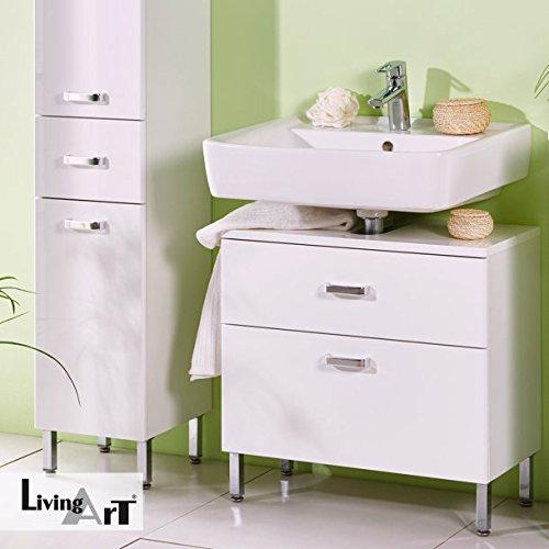 LivingArt Waschbecken-Unterschrank Badezimmer-unterschrank mit  Soft-Close-Technik & Kosmetikeinsatz