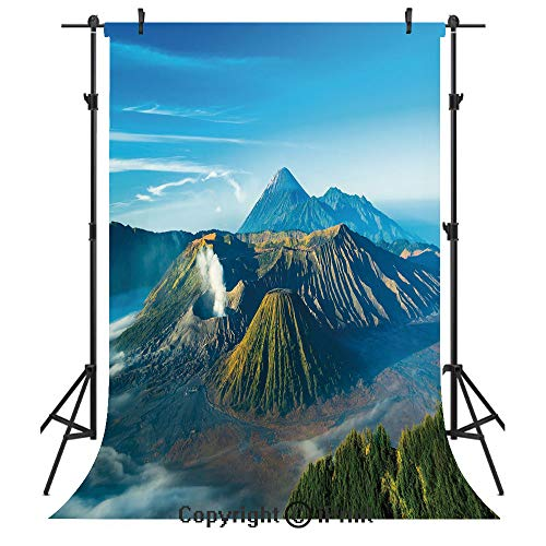 Volcano Photography Backdrops,Mount Bromo Volcano During Sunrise in East Java Indonesia Majestic Nature,Birthday Party Seamless Photo Studio Booth Background Banner 6x9ft,Sky Blue Green White ()