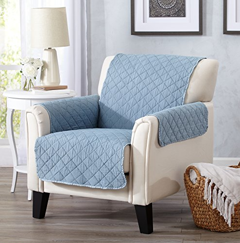 Great Bay Home Deluxe Stonewashed Stain Resistant Furniture Protector in Solid Colors. Laurina Collection By Brand. (Chair, Delphium Blue)