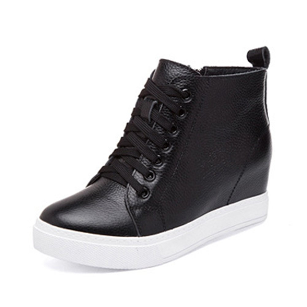 GIY Women Fashion High Top Sneaker Platform Increased Height Casual Wedge Shoes
