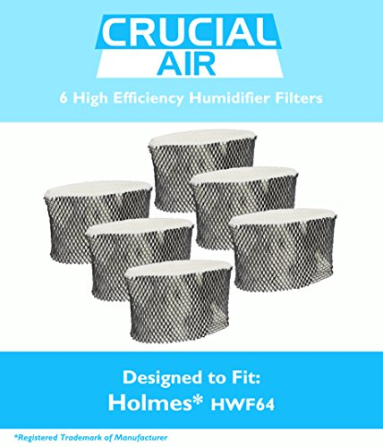 6 Holmes HWF64 Humidifier Filter B Fits HM1761, HM1645, HM1730, HM1745, HM1746, HM1750, HM2220 & HM2200, Fits Sunbeam SCM1745 & SCM1746, Designed & Engineered by Crucial Air
