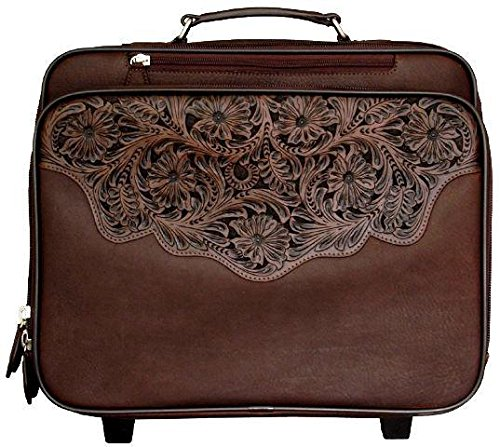 Western Chocolate Brown Tooled Leather Laptop Luggage (Tooled Leather Luggage)