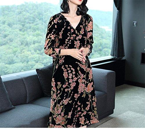 Velluto Cotiledone Allentato Collo Abiti Casuale Women`s Di Vestito Stampati V pOAUnq8Pq
